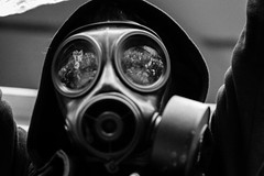 personal protective equipment, clothing, light, monochrome photography, gas mask, monochrome, mask, black-and-white, black,