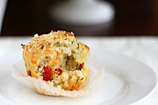 Sun-Dried Tomato, Basil, and Parmesan Muffins