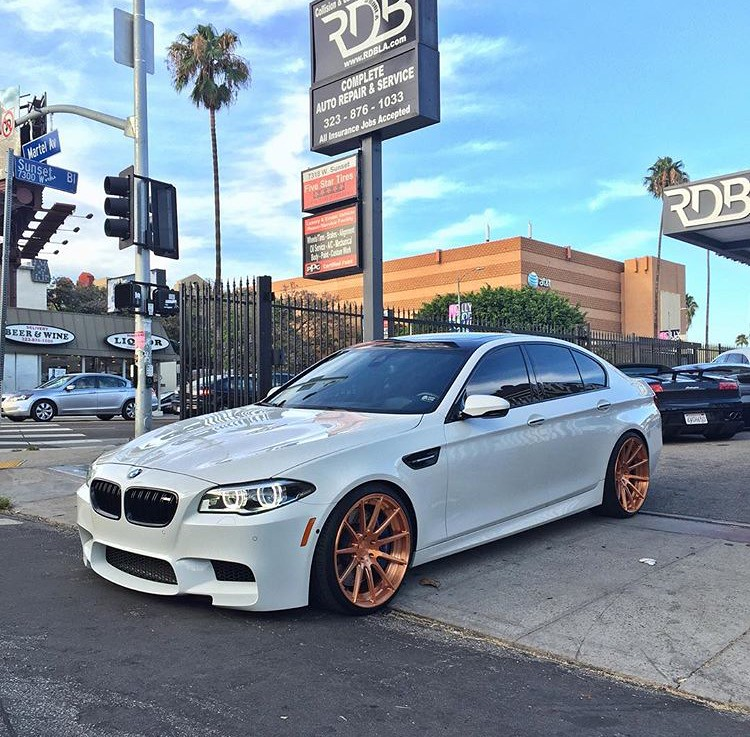 BMW M5 F10 on Rose Gold Wheels YUP!