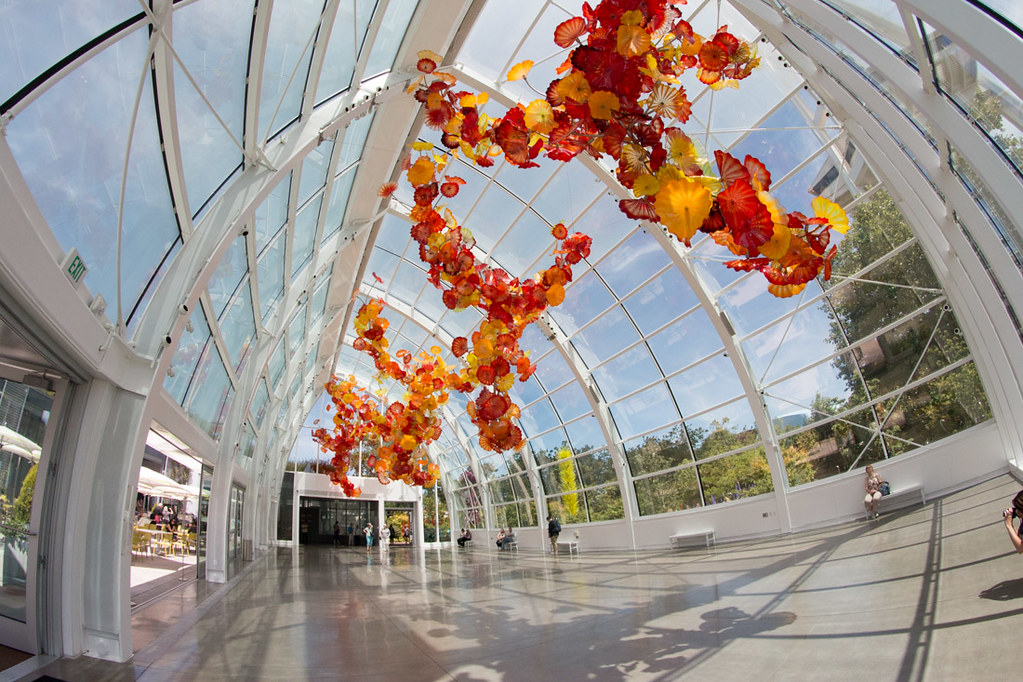Wide angle shot of the Chihuly Glasshouse