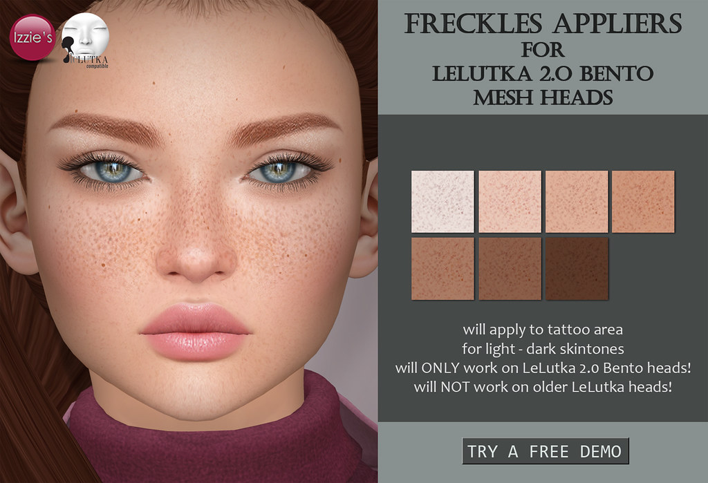Freckles Appliers for LeLutka 2.0 Bento mesh heads - SecondLifeHub.com