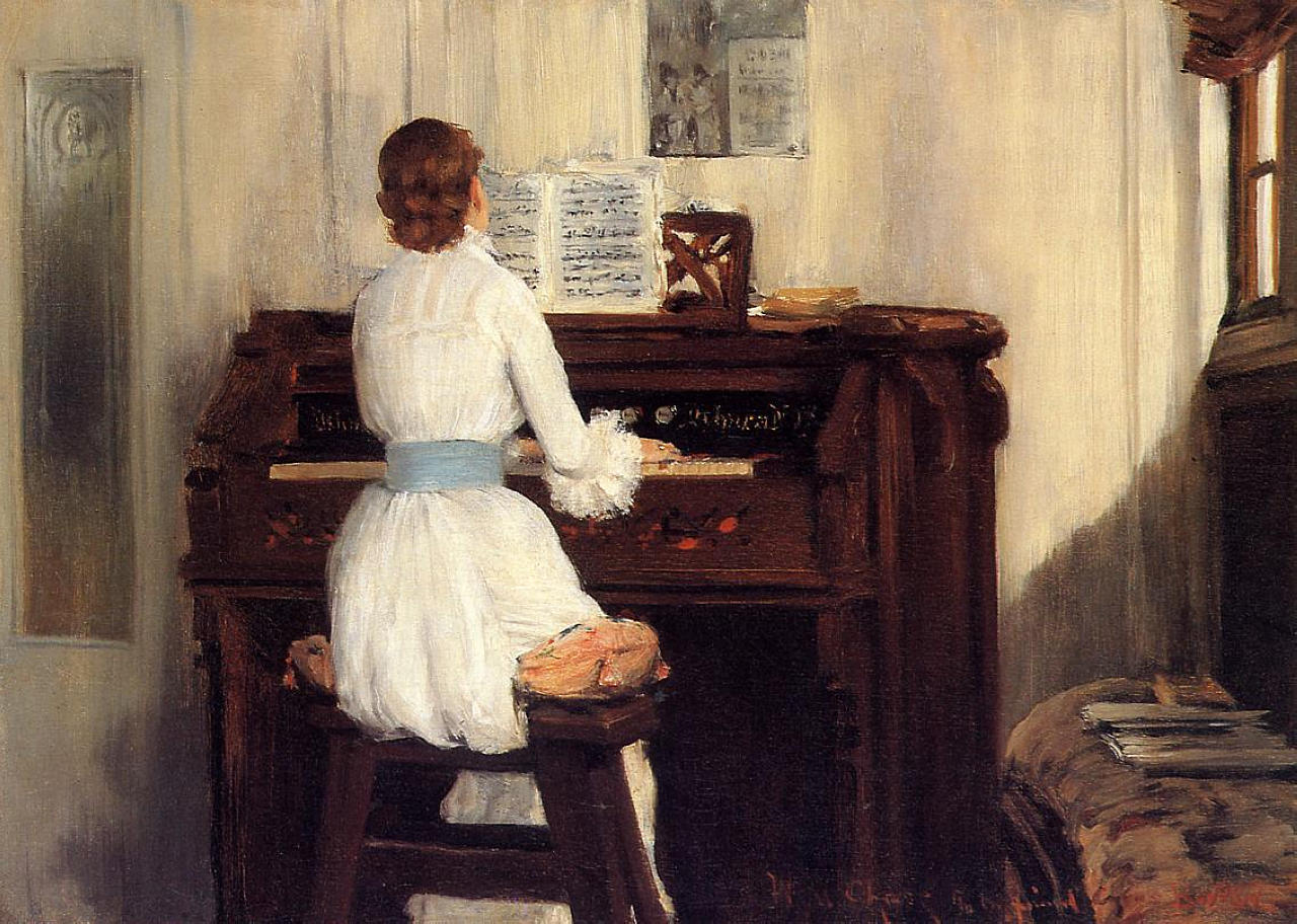 Mrs Chase Playing the Piano by William Merritt Chase, 1883