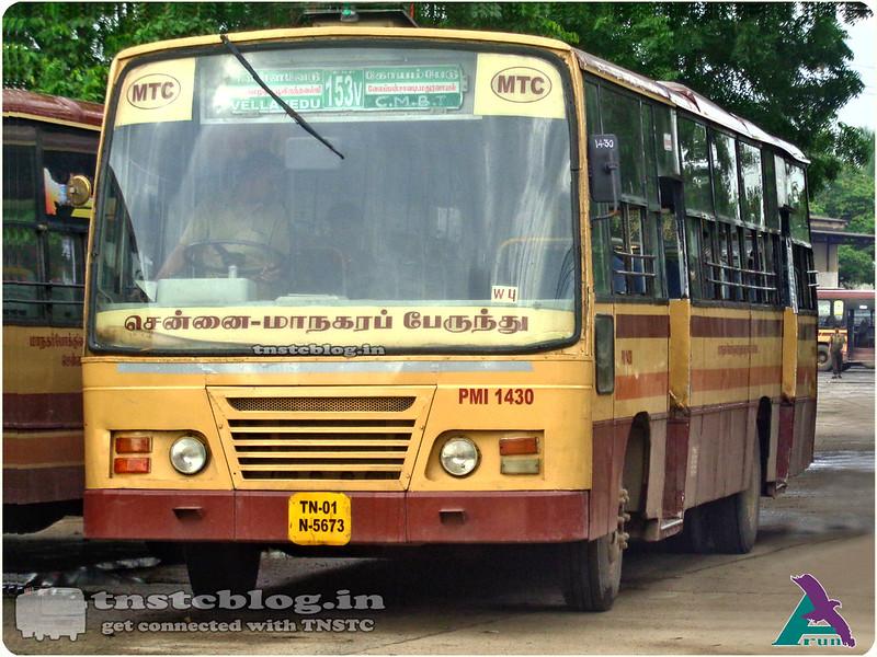 TN-01N-5673 PMI 1430 of Poonamallee Depot 153V Vellavedu CMBT via Thirumazhisai, Poonamallee, Velappan chavadi, Maduravoyal.