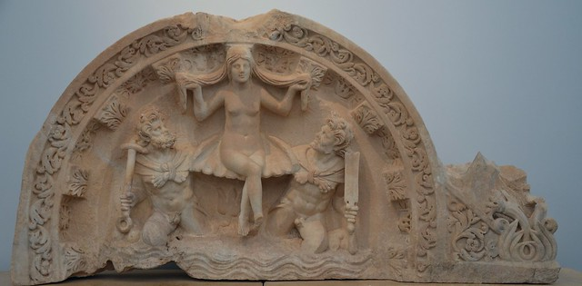 Relief depicting the birth of Aphrodite (Aphrodite Anadyomene), Aphrodisias Museum, Turkey