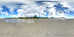 From the sandbar between Paiko lagoon Wildlife Sanctuary and the Kuliou'ou Beach Park in East Honolulu at low tide   - a 360° Equirectangular VR