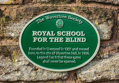 Photo of Wavertree Hall, Liverpool and Royal School For The Blind, Liverpool green plaque