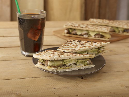Chicken Pesto and Shiitake Mushroom Melt on Flat Bread