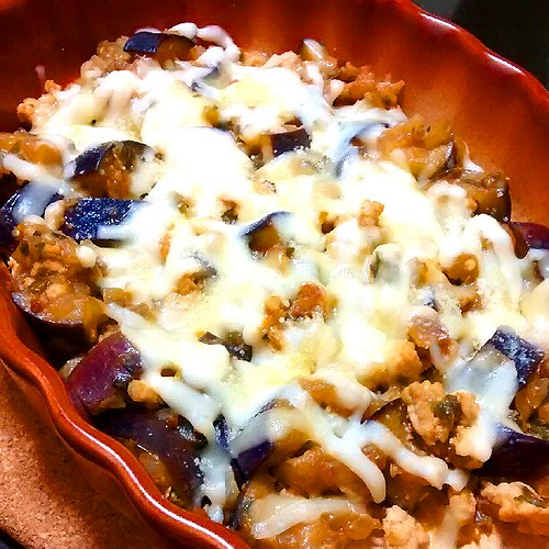 絶品♡茄子と挽肉の味噌チーズ焼き