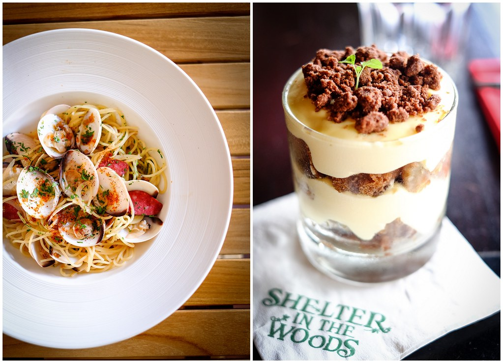 Shelter in the Woods: Chorizo Clam Spaghetti & Chestnut Tiramisu