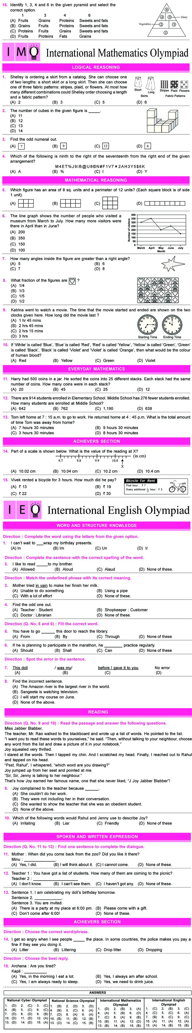 NCO, NSO, IMO & IEO Class 5 Sample Papers