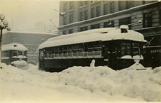 Trollies in Snowy Streets of Seattle, Washington, Real Photo Postcard, 1916