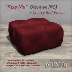"""@ SWANK - [CIRCA] - """"Kiss Me"""" - Ottomans (PG) - Cherry Red Velvet"""