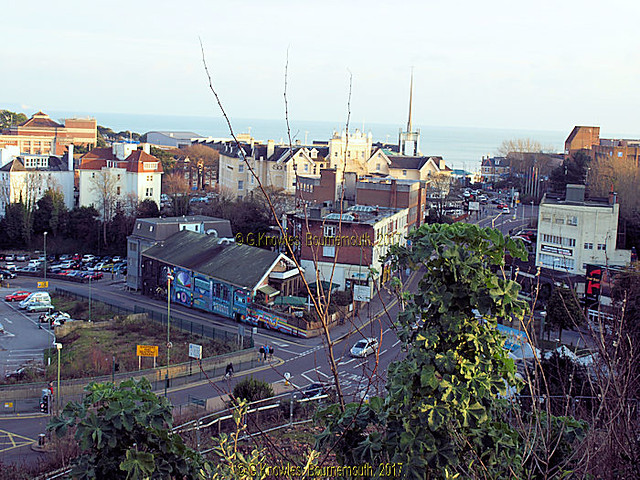 Exeter road, Bournemouth from the upper Terrace road car park in 2013, before the development was built on this car park, Bournemouth, Dorset, England.
