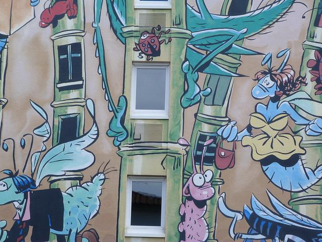 Detalle de uno de los murales pintados de Angulema (Poitou-Charentes, Francia)