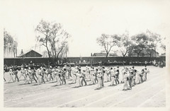 Chinese school children practicing a dance performance
