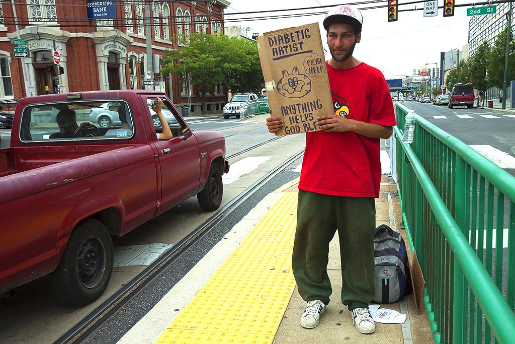 Web designer with diabetes begging on Girard Avenue--Northern Liberties