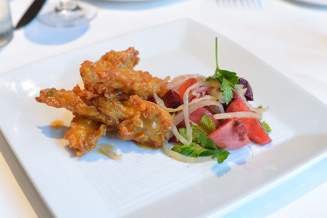 Fried Frog Legs with Cajun Butter and Pickled Beets
