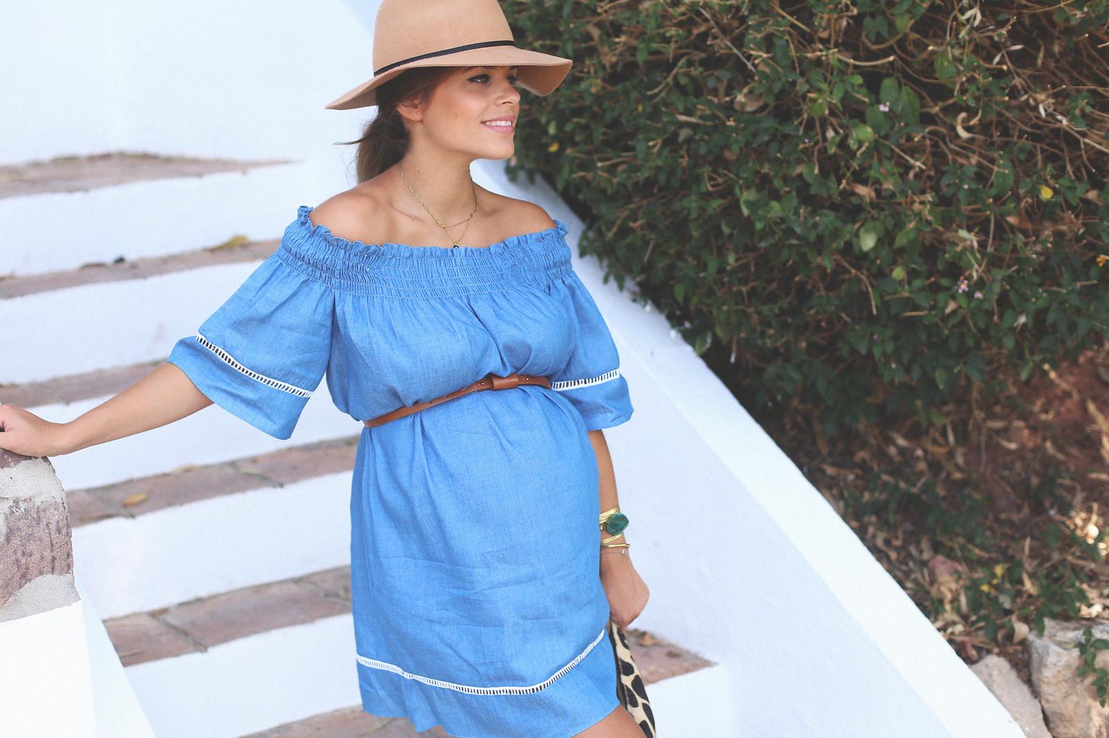 6. off shoulders denim dress - jessie chanes - pregnancy