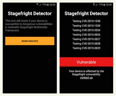 Stagefright sebezhetőség teszt app