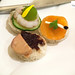 Canapés of cucumber and shrimp, smoked salmon with caviar