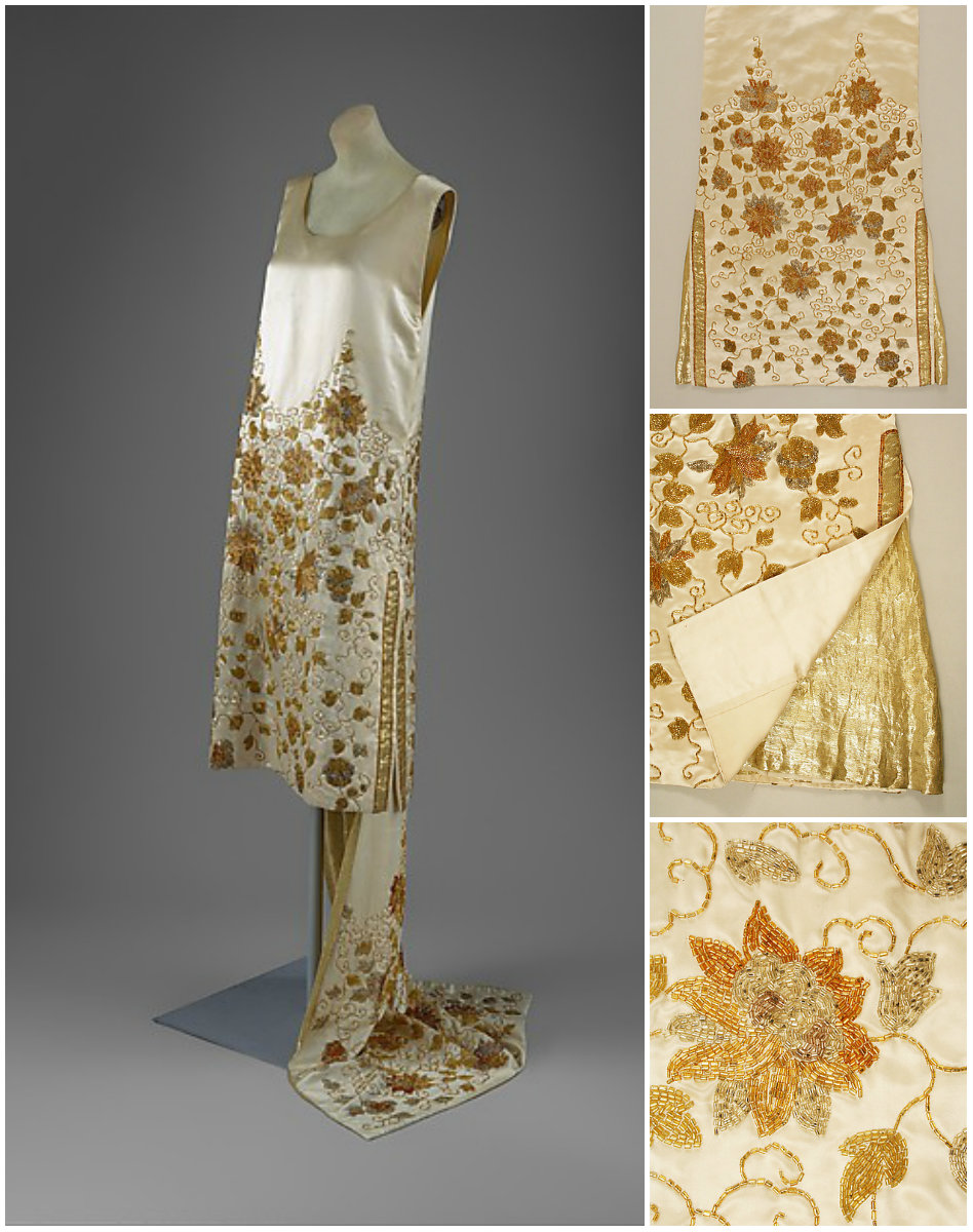 1925. Evening Dress. Silk, beads, metal thread. metmuseum