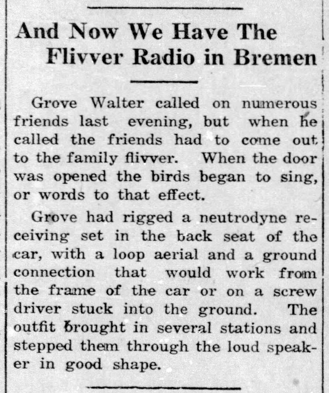 1924 - Grover Walter car radio - Enquirer - 12 Jun 1924