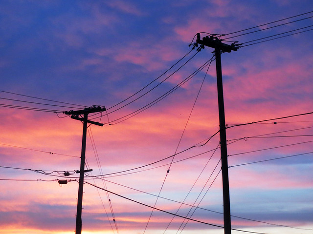 Electrical Wires at Sunrise, by sherrie thai of shaireproductions.com