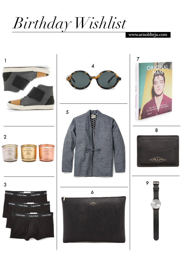 birthday wishlist, eastdane, east dane, arnold teja, marni sneakers, tom dixon candle, calvin klein underwear, han kjobenhavn sunglasses, naked & famous shirt, delfonics pouch, rag & bone card case, TID watch
