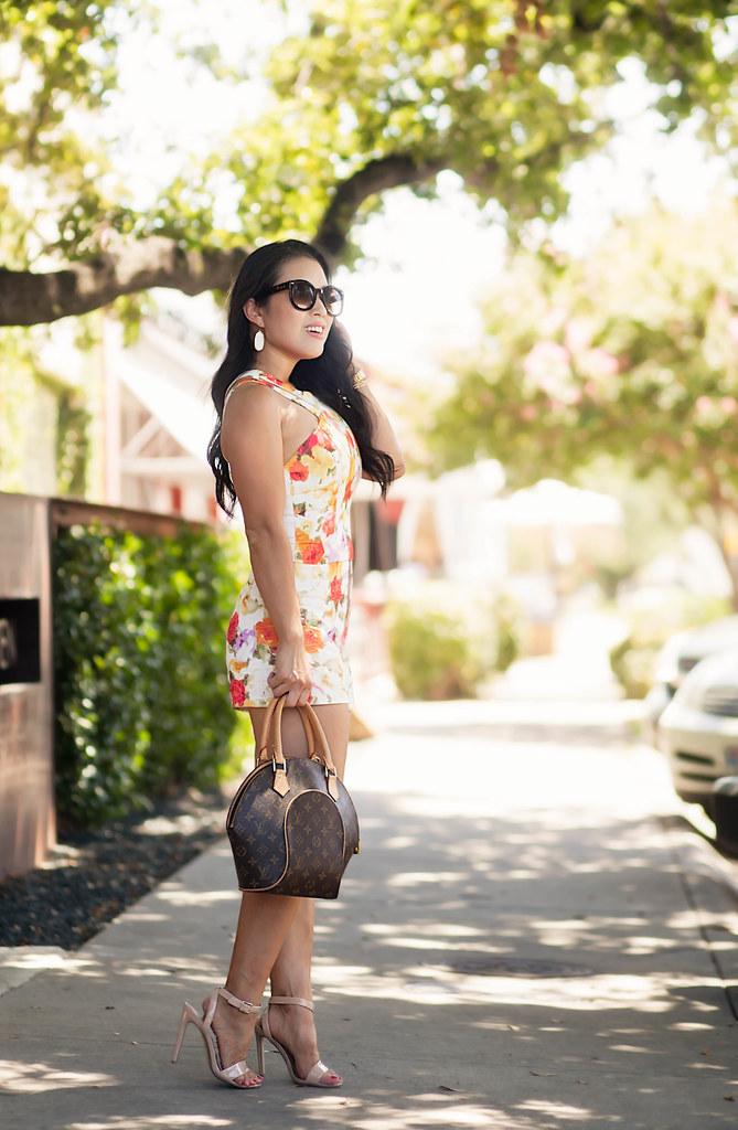 cute & little blog | petite fashion | poppy floral crop top shorts set, louis vuitton ellipse, steve madden nude sandals | spring summer outfit