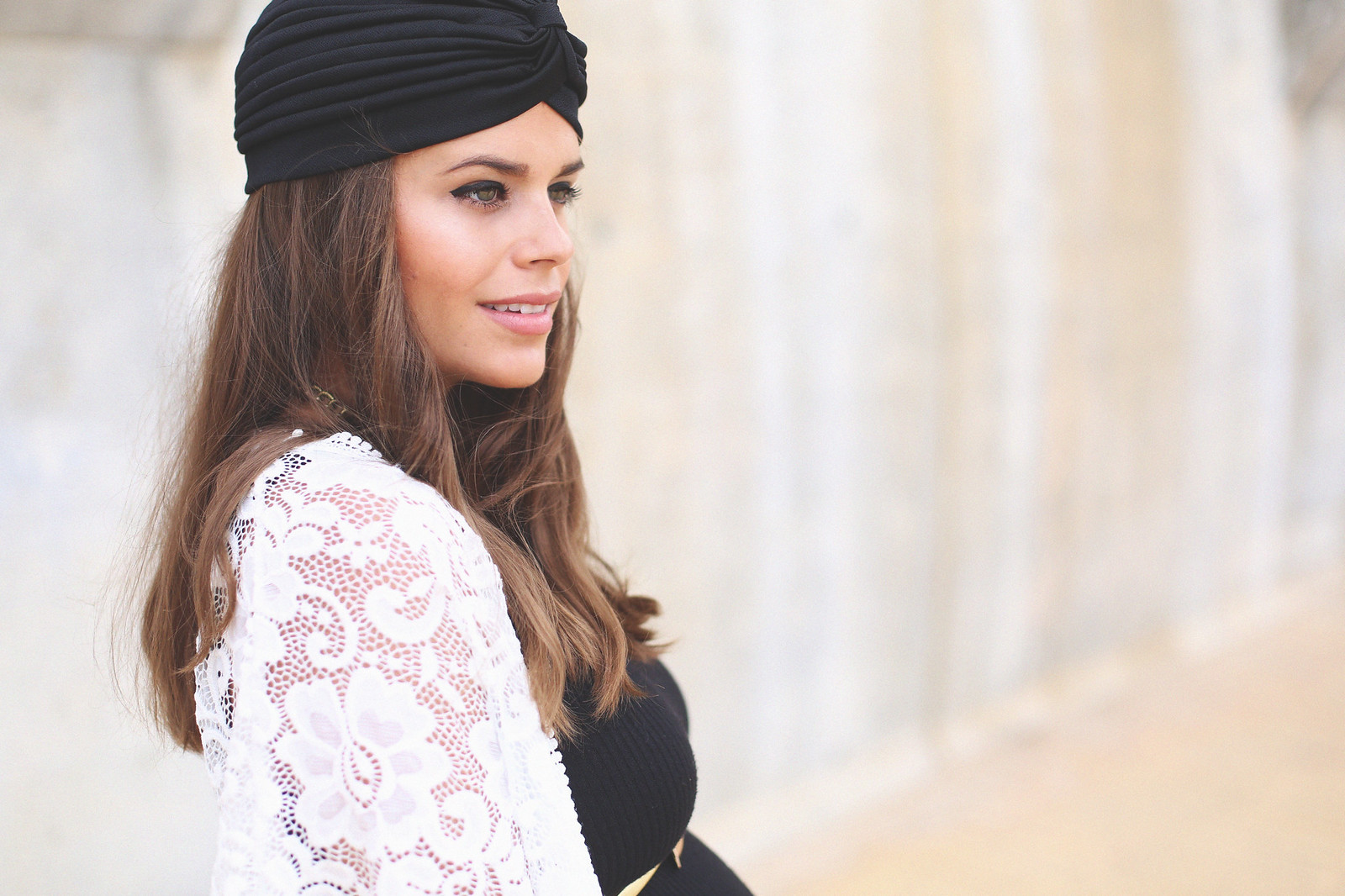 8. long black dress lace top jacket boho chic outfit - jessie chanes - pregnancy