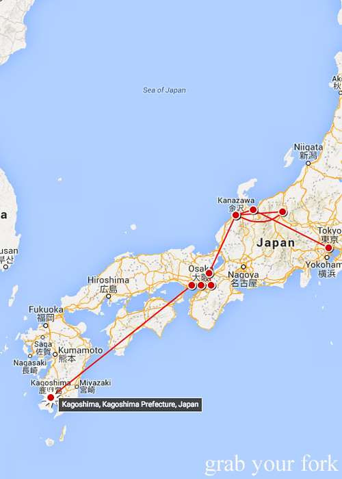 Our Japan travels mapped from Tokyo to Kagoshima
