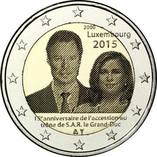 2 Euro Luxemburgsko 2015, 15. výročie nástupu Henriho na trón