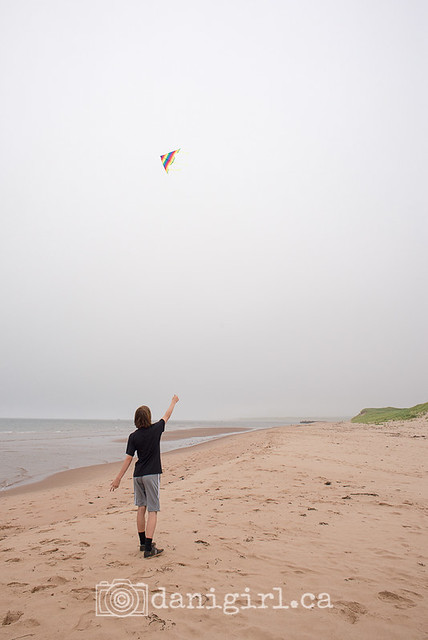 Kite flying in the rain