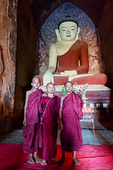 Little monks in a temple in Bagan