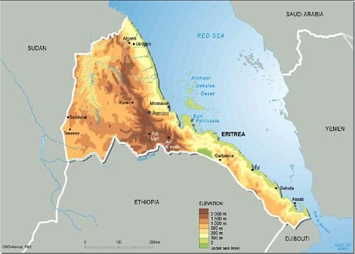 eritrea  topographic map