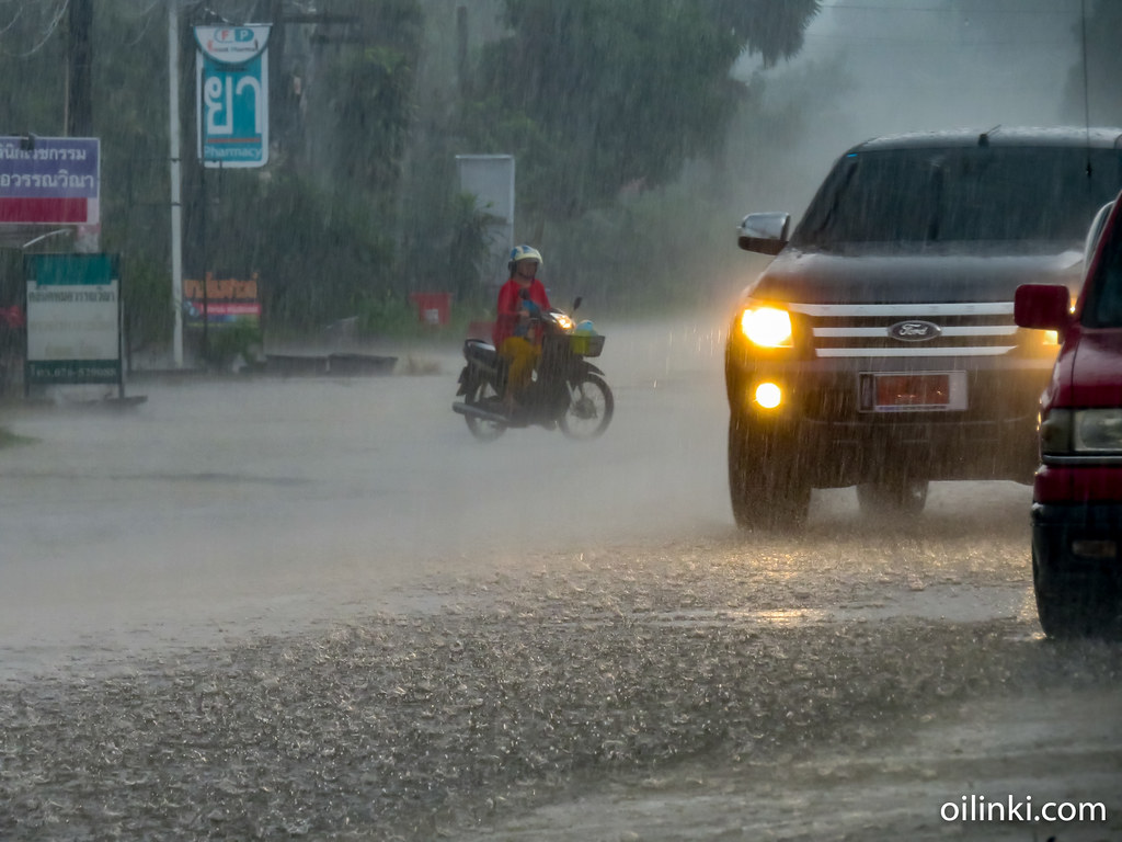 Driving a motorbike in the rain. Bang Rong, Phuket, Thailand