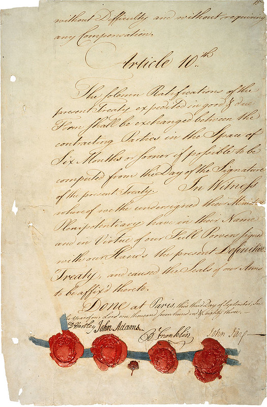 The last page of the 1783 Treaty of Paris (1783)