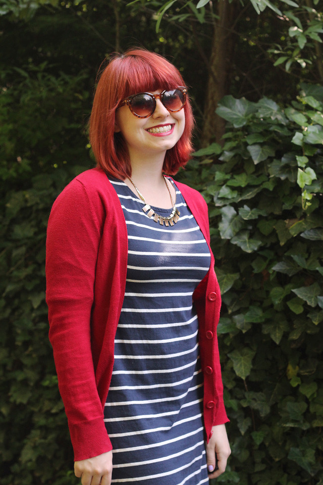 Tortoiseshell Sunglasses, Striped Dress, Gold Necklace
