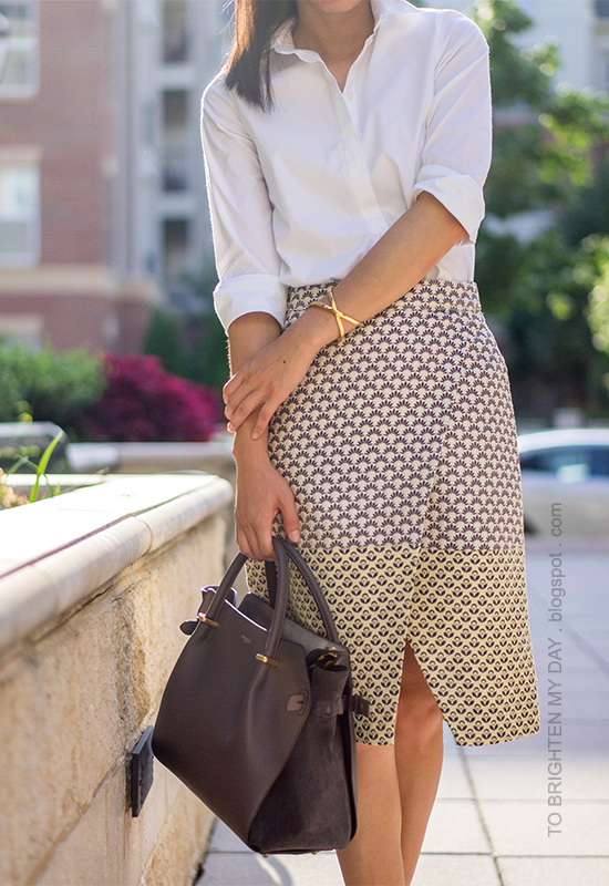white dress shirt, brocade printed wrap skirt, gray tote