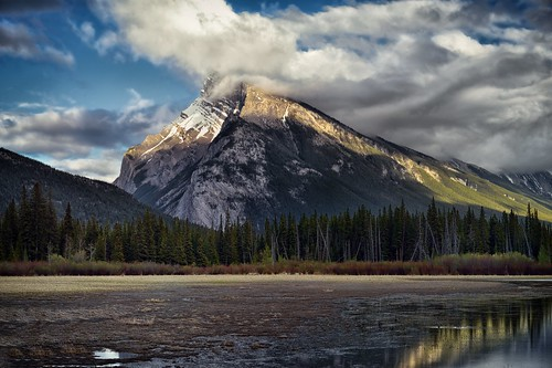 A Late Afternoon Viewing of Mount Rundle and the Vermillion Lakes
