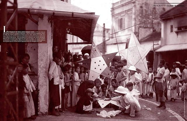 HANOI 1930 - Trẻ con làm lồng đèn chuẩn bị Tết Trung Thu - GEO HISTOIRE (Avril-Mai 2014)