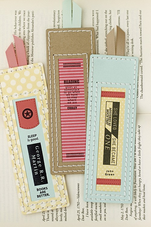 Bookmarks with Bibliophile and Stitched Bookmark