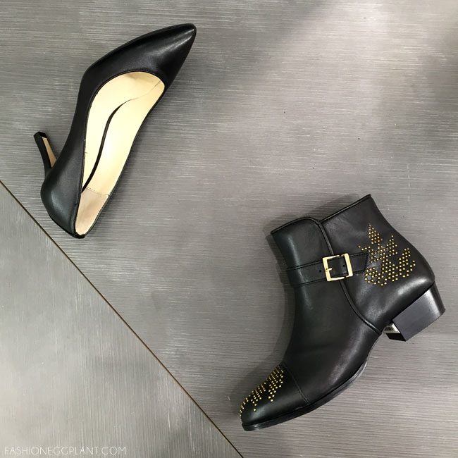BLACK LEATHER PUMPS MINELLI