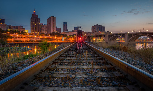 road longexposure railroad bridge minnesota sport skyline river mississippi lights lowlight downtown track pentax outdoor stpaul explore mississippiriver vehicle bluehour k3 railroadtrack robertstreet unionpacificrailroad 1stnationalbank greatwesternbridge rokinon14mm28