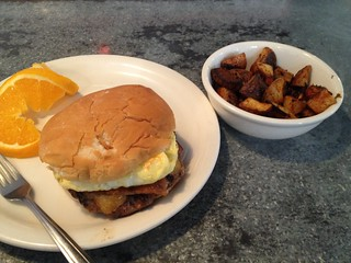 Breakfast Burger with Home Fries