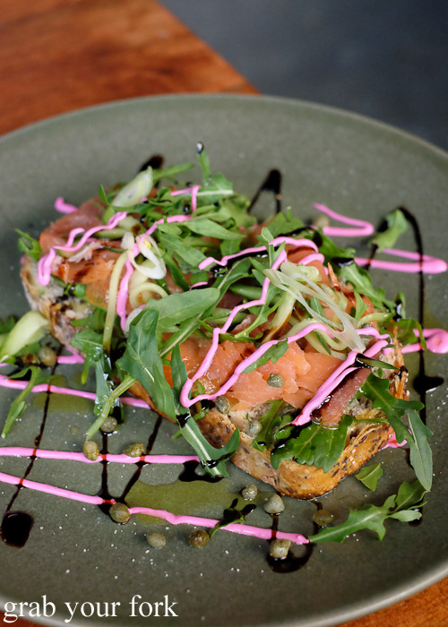 Smoked salmon and rocket bruschetta at The Local Mbassy, Ultimo