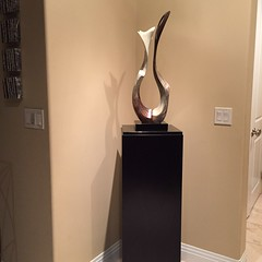 Ebonized Walnut Wood Dyed Veneer Pedestal 15 x 15 x 42