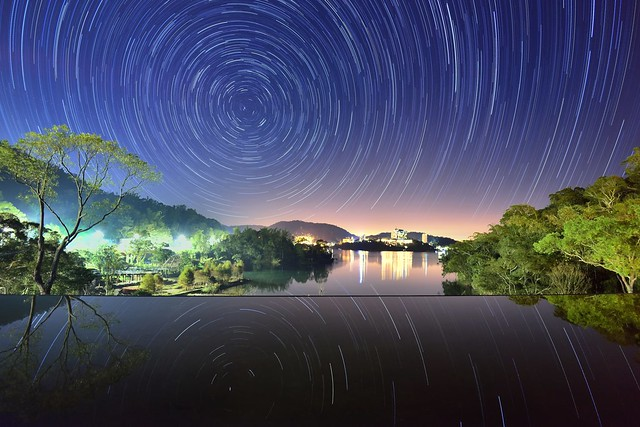Star trails, Sun Moon Lake 日月潭向山星軌