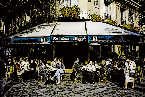 Digital Pen and Ink Drawing of Les Deux Magots by Charles W. Bailey, Jr.
