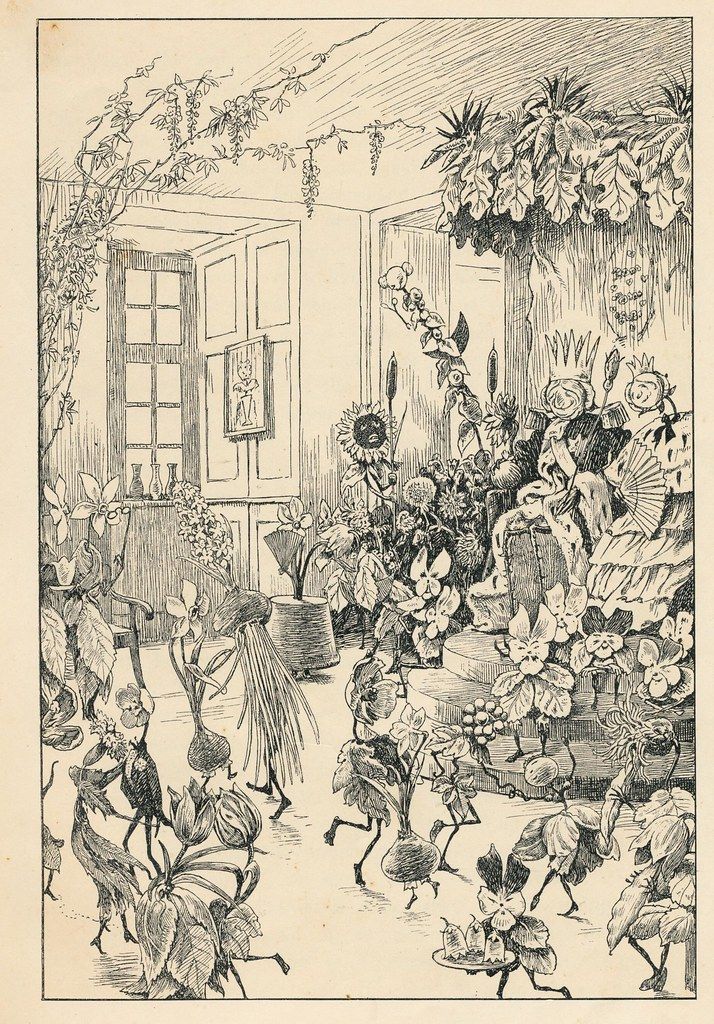 """Hans Tegner - """"Down on the floor the flowers were dancing most gracefully, round and round, holding each other by their long, green leaves."""" from Andersenovy pohádky (Andersen's Fairy Tales) vol. 3, by Hans Christian Andersen, 1900"""